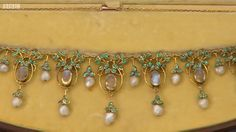 Jessie M King for Liberty & Co. Moonstone, pearl and enamel necklace, c. 1905. View 4/5.