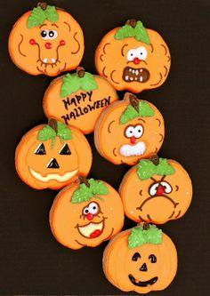 Halloween Cookies: Pumpkins   #halloweencookies.