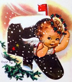 Vintage Christmas Angel In Mailbox Quilting Fabric Block & Garden Christmas Mail, Christmas Card Images, Vintage Christmas Images, Christmas Graphics, Retro Christmas, Vintage Holiday, Christmas Greeting Cards, Christmas Pictures, Christmas Angels