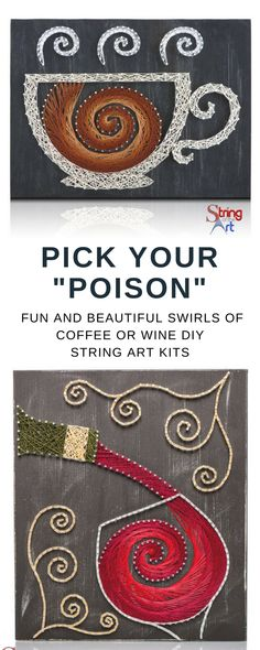 This colorful one-of-a-kind String Art Kit will be every crafters', coffee lovers', and wine lovers' favorite gift. Show off your artistic skills to friends and family or hand craft with love this wonderful DIY Kit for someone special. Perfect for kitchen, coffee lovers, wine lovers, and enthusiasts. #cofeee #wine #etsyad