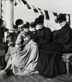 Grand Duke Constantine Constantinovich and Grand Duchess Elisabeth Mavrikievna with a group on the deck of a ship  c.1910