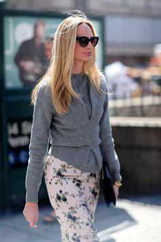 Lauren Santo Domingo Street Style - grey sweater and floral skirt