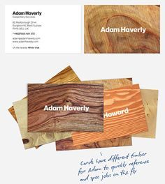 "business cards - carpentry services - ""cards have different timber for Adam to quickly reference and spec jobs on the fly"""