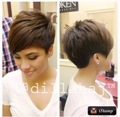 Love the volume! love the different style of pixie.still short but longer on one side and longer bangs