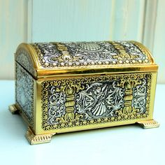 Gold and Silver Metal Embossed Vintage Tin with Hinged Lid, Teleflora, West Germany