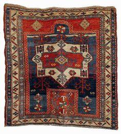 Kazak prayer rug Rug World, Textile Museum, Textiles, Fabric Rug, Prayer Rug, Tribal Rug, Rugs On Carpet, Bohemian Rug, Antiques