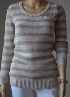 À vendre sur #vintedfrance ! http://www.vinted.fr/mode-femmes/pull-overs/28604974-pull-caroll-raye-ecru-et-beige-col-rond