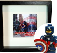 Lego Marvel Avenger Captain America Minifigure Super Hero - 3D Art For A Desk Display by FramedCreation on Etsy https://www.etsy.com/uk/listing/220784510/lego-marvel-avenger-captain-america