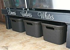 Elevate your washer and dryer on a platform (buy or DIY) and use the space underneath for storage