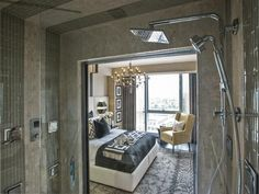 A polished chrome four-way handshower and square rainhead with air induction spray technology offer a design-forward approach to the spa shower experience.  #HGTVUrbanOasis  http://www.hgtv.com/urban-oasis/hgtv-urban-oasis-2013-master-bathroom-pictures/pictures/page-7.html?soc=pinterest
