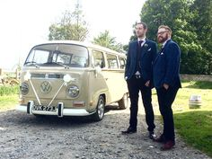 Congratulations to Gary and Philippa married and celebrating at High House Farm Brewery, Matfen, Northumberland. www.vwdeluxeweddings.co.uk Chauffeur driven VW Campervan wedding hire in Northumberland, Tyne and Wear, and Durham.