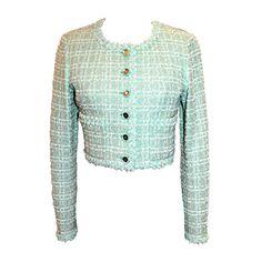 6b9b80030d 1990s Chanel Mint Green Tweed Crop Jacket Mint Jacket