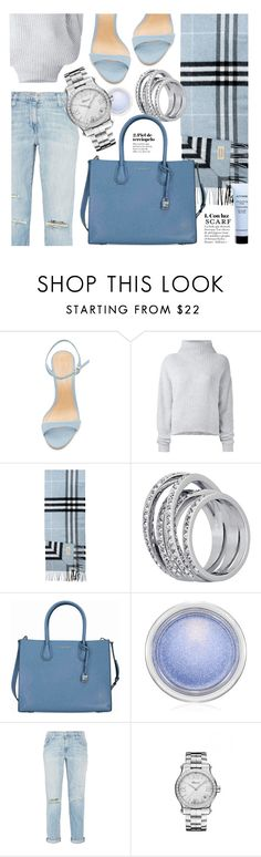 """""""Winter Blue"""" by jomashop ❤ liked on Polyvore featuring Schutz, Le Kasha, Burberry, Michael Kors, MAC Cosmetics, Current/Elliott, Chopard, Givenchy, Blue and scarf"""