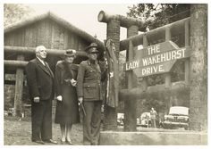 Unveiling of Lady Wakehurst Drive, Royal National Park. Left to right: Horace William Whiddon, MLC, Lady Wakehurst and Lord Wakehurst Dated: 14 May, 1945