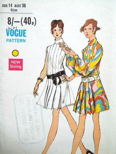 Vintage 1960s Vogue sewing pattern  A loose fitting dress with or without puff sleeves and wide one way pleats Bust 36 inches  A printed pattern