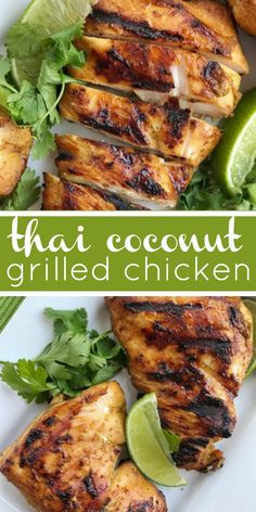 Thai Coconut Grilled Chicken Grilled Chicken Recipes Thai coconut chicken will be the best grilled chicken you ll make this summer It s a must make for grilling season Chicken marinated in coconut milk lime curry powder and other spices Summer Recipes, Healthy Dinner Recipes, Cooking Recipes, Summer Grilling Recipes, Healthy Grilling, Grilled Dinner Ideas, Recipes For Two, Easy Bbq Recipes, Vegetarian Grilling