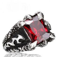 Men's Titanium Dragon Clawing Red Gemstone Ring