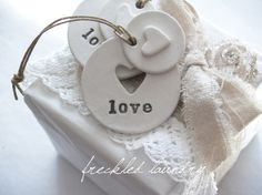 Double Heart LOVE Clay Tags Set of 2 by freckledlaundry on Etsy