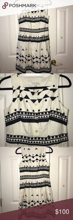 Navy and white J Crew dress - size 6 NWT Fun, sassy J Crew dress. White with navy polka dots and geometric patterns. Size 6, never worn, NWT.  Side zip, functional buttons down the front. J. Crew Dresses