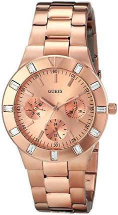 GUESS Womens U13013L1 Feminine HiShine Rose GoldTone MidSize Watch ** Check out the image by visiting the link.
