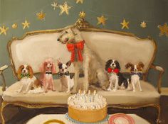 Douglas' Birthday Party At Black Walnut Manor. Formal Attire. Limited edition print by Janet Hill