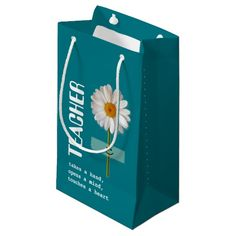Smiling Daisy design Thank You Teacher / Happy Teacher Appreciation Day / Happy Teacher Appreciation Week / Graduation / Retirement  Small Gift Bags for Teachers with personalized name. Matching cards, postage stamps and other products available in the Business / Occupation Specific / Education, Childcare Category of the Mairin Studio store at zazzle.com
