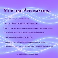 Morning Affirmations for a GREAT day! <3 set yourself up for #happiness #positivity and the ability to face any challenge knowing you have the strength within you. For more, listen to my iTunes podcasts - look for Jane Jackson Careers on iTunes - sending love and light ☀️