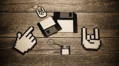 Bügelperlen - Untersetzer & Schlüsselanhänger Diskette & Hände