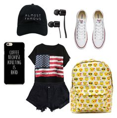 A fashion look from September 2016 featuring cotton jersey t shirt, cotton stretch shorts and canvas low top sneakers. Browse and shop related looks. Amusement Park Outfit, Converse, Vans, Shoe Bag, Polyvore, Stuff To Buy, Outfits, Shopping, Collection