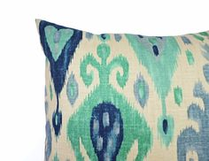 Two Ikat Pillow Covers Blue and Green Ikat by CastawayCoveDecor