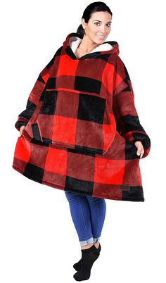 Catalonia Oversized Hoodie Blanket Sweatshirt,Super Soft Warm Comfortable Sherpa Giant Pullover with Large Front Pocket,for Adults Men Women Teenagers Kids Wife Girlfriend,Red Plaid Blanket Poncho, Hooded Sweatshirts, Hoodies, Long Underwear, Wearable Blanket, Wife And Girlfriend, Red Plaid, Stay Warm, Hoodie