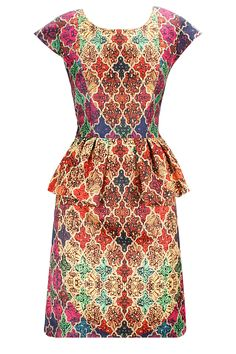 Multi-colour lattice print peplum dress available only at Pernia's Pop-Up Shop.