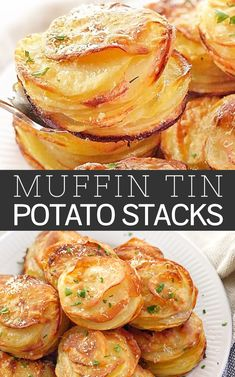 Crispy Potato Stacks - made in a muffin tin, these mini potato stacks are crispy on the top and bottom, but creamy on the inside. Just like gratin potatoes. potato al horno asadas fritas recetas diet diet plan diet recipes recipes Potato Side Dishes, Vegetable Dishes, Vegetable Recipes, Vegetarian Recipes, Cooking Recipes, Healthy Recipes, Potato Meals, Potato Recipes, Muffin Tin Potatoes