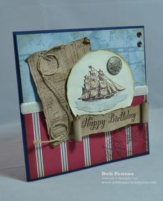 Masculine birthday card.  Love the detail on this card - the scroll-rolled sentiment, the rope....