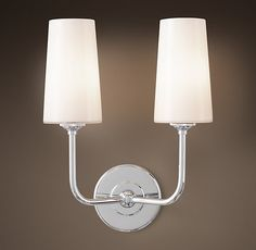 Modern Taper Double Sconce With Glass Shade