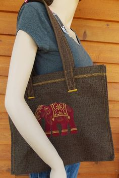 Embroidered handmade elephant tote