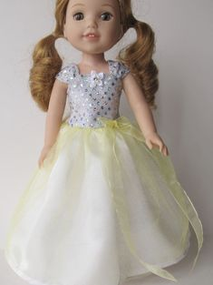 "Pale Yellow Ball Gown For 14""-14.5"" Dolls"