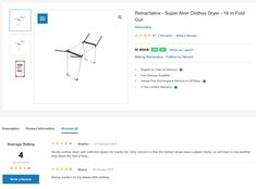 """Sturdy. perfect for my babies little clothes. '' Is one of the reviews for the @retractaline  Super #Airer #Clothes #Dryer  16 m #Fold Out. Click the link below to see more reviews. Wire Crosses, Plastic Components, Folding Laundry, Clothes Dryer, Perfect For Me, South Africa, Babies, Link, Babys"