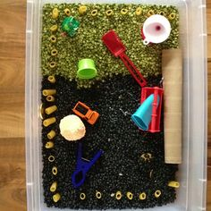 Sensory bin  Black beans  Peas Rigatoni noodles Moldable foam  Funnels tubes and various other little containers