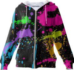 0000000P/Wet Paint Retro Color Splash Hoodie