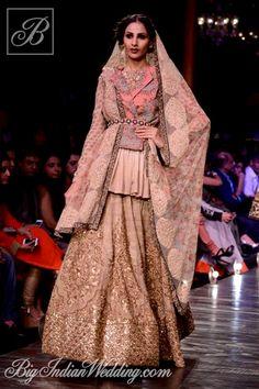 Sabyasachi Lakme Fashion Week 2013   Lehengas & Sarees   Bigindianwedding   Lovely Lehanga in Gold   A lighter version can be done as an Anarkali Suit