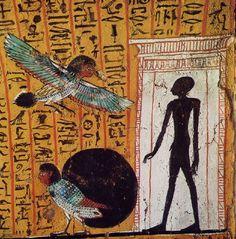 Representación del ba del difunto en el Antiguo Egipto.