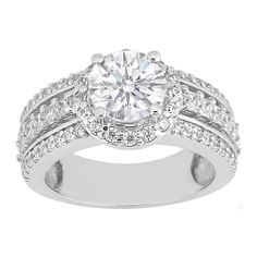 Engagement Ring - Vintage Style Round Diamond Engagement Ring with Princess Diamonds 0.94 tcw. In 14K White Gold - ES409