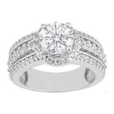 Engagement Ring - Vintage Style Round Diamond Engagement Ring with Princess Diamonds 0.94 tcw. In 14K White Gold - ES409