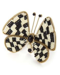 H7PSF MacKenzie-Childs Butterfly Check Napkin Ring