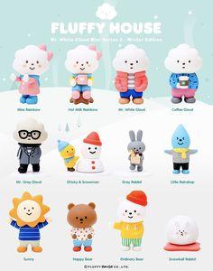 White Cloud Mini Series 2 by Fluffy House - Winter Edition - Strangecat Toys Vinyl Toys, Vinyl Art, Game Character, Character Design, Cute Surprises, Tango, Id Design, Mascot Design, Cute Games