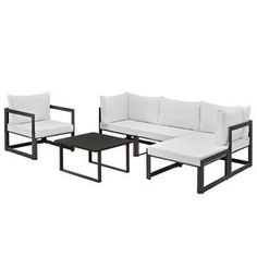 Modway EEI-1731-BRN-WHI-SET Fortuna 6 Piece Outdoor Patio Sectional Sofa Set in Brown White