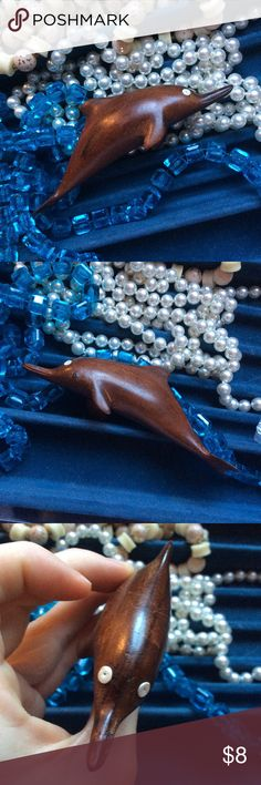 🎊FREE🎊ADD to Your Bundle Wooden Dolphin Tiny wood dolphin sculpture. Good condition. Pucci Shell eyes. Room decor. Bohemian mermaid Gypsy chic. Anthropologie Other