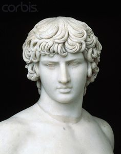 Detail of Head from Roman Statue of Antinous