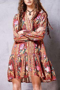 Ethnic Print V Neck Long Sleeve Dress